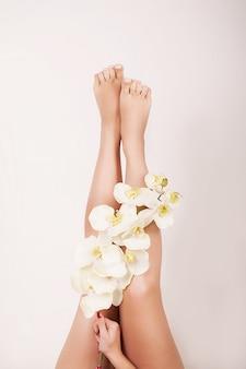 Feche acima das pernas fêmeas longas com pele macia lisa perfeita