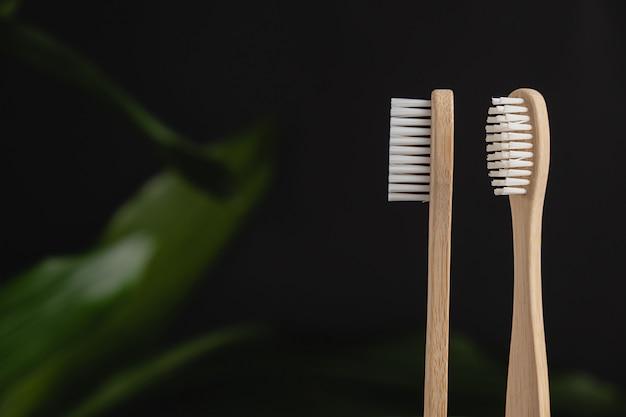 Feche acima de duas escovas de dentes de bambu e folha verde