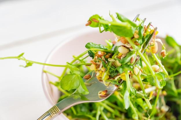 Feche acima de uma salada feita de brotos de ervilhas microgreen e feijão brotado. comida saudável vegana