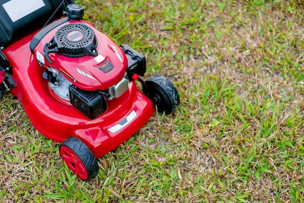 Feche acima do cortador de grama no parque na grama