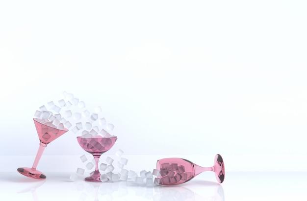 Feche acima do cubo de gelo no copo de vinho inclinado no fundo para design de comida e bebida
