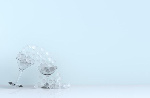 Feche acima do cubo de gelo no vidro de vinho que inclina-se no fundo para o alimento e beba o projeto.