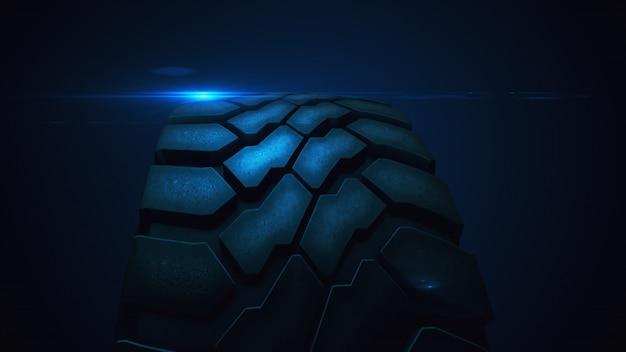 Feche acima do pneu de carro com reflexão azul