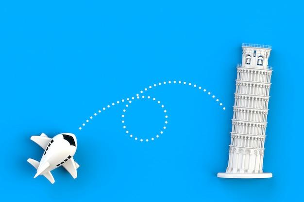 Feche acima do voo do avião vá à torre inclinada da ilustração do conceito de pisa, vista superior com espaço da cópia, rendição 3d