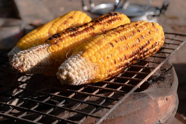 Feche acima dos calos no carvão vegetal do fogão