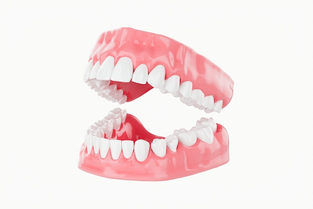 Feche acima dos cuidados médicos dos dentes da beleza. foco seletivo. 3d rendem.