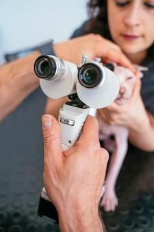 Feche acima e detalhe de uma revisão da vista em um gato idoso com perda de visão.
