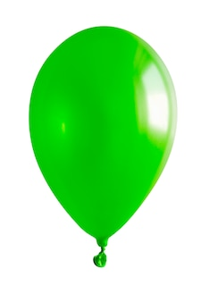 Feche acima em um balão verde isolado