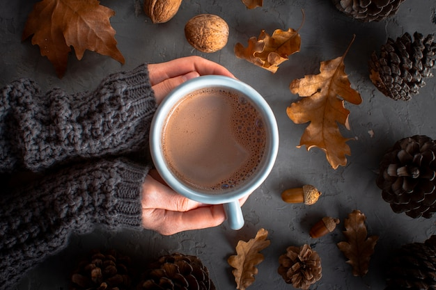 Feche as mãos segurando uma xícara de chocolate hoc