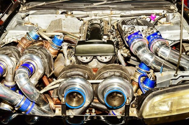 Feche detalhes do motor do carro. modificação do motor