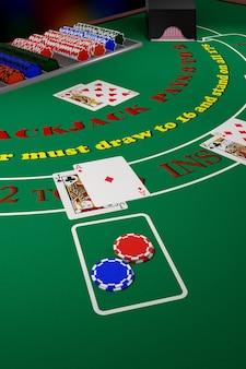 Feche em uma mão vencedora de blackjack.