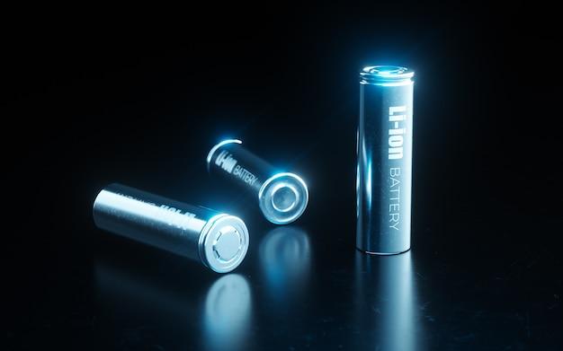 Feche o conceito de célula de bateria de íon de lítio de metal moderno usada em bateria de veículo elétrico em luz azul sobre fundo preto de metal. renderização 3d.