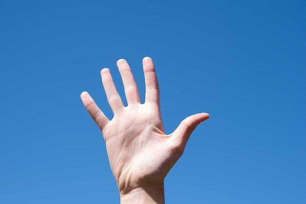 Feche o gesto de mão feminina mostrando cinco dedos, abra a palma feminina isolada no fundo do céu azul