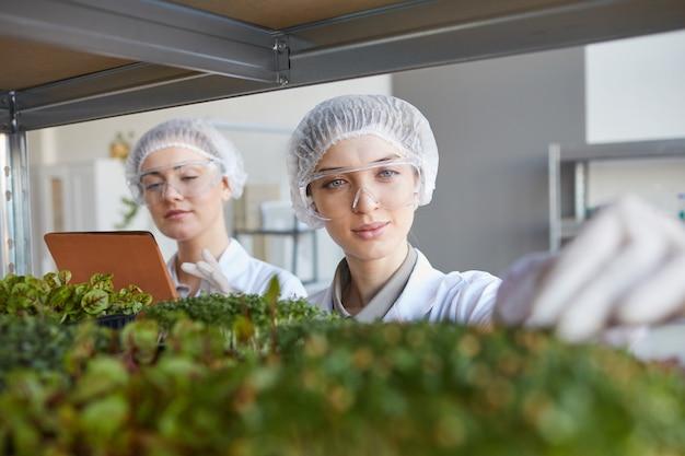 Feche o retrato de duas cientistas examinando amostras de plantas enquanto trabalhava no laboratório de biotecnologia, copie o espaço