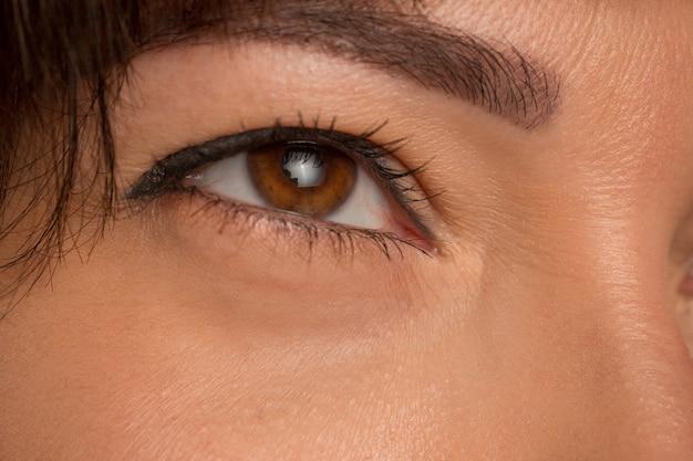 Feche os olhos castanhos no rosto de uma jovem e linda garota caucasiana