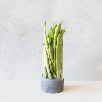 Feijão de jacinto verde fresco no recipiente