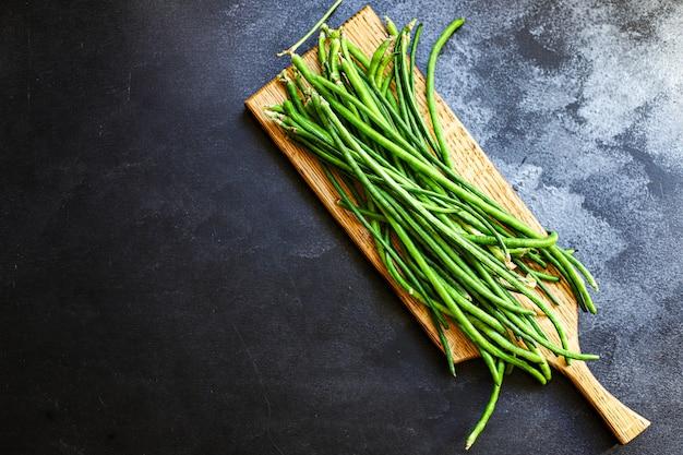 Feijão verde colheita fresca, vegetais, alimentação orgânica