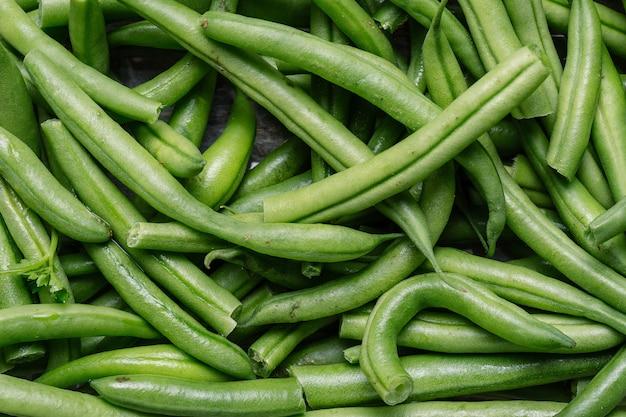 Feijão verde cru fresco