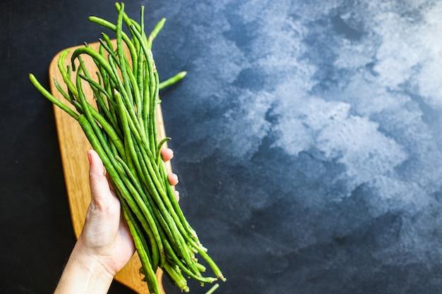 Feijão verde legumes crus alimentos orgânicos
