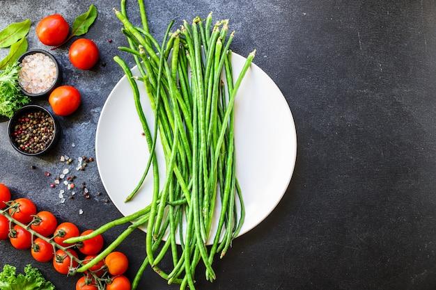 Feijão verde legumes crus comer orgânico