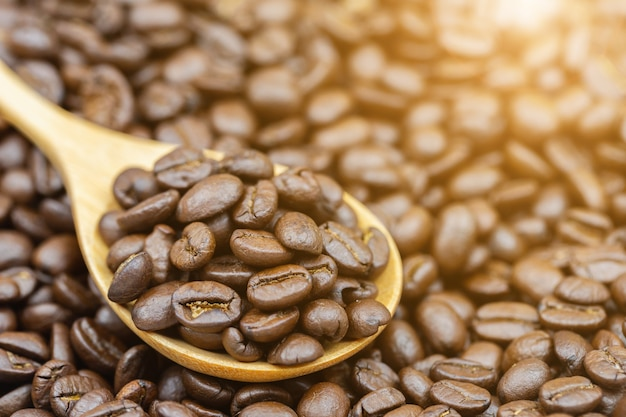 Feijões de café marrons roasted close up na colher de madeira.
