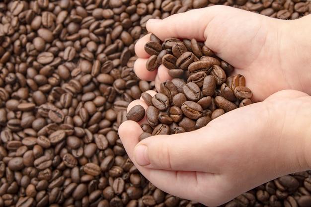 Feijões de café nas mãos com coração do amor no fundo do café. fundo de grãos de café torrado