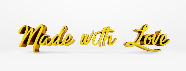 Feito com amor. uma frase caligráfica. logotipo 3d no estilo da caligrafia de mão em um fundo branco e uniforme com sombras. renderização 3d.