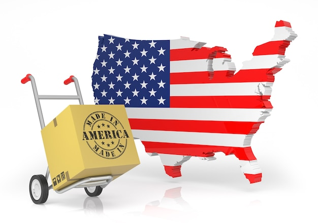 Feito na américa com o mapa dos eua. ilustração 3d