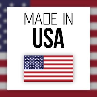 Feito no logotipo ou etiqueta dos eua, ilustração com bandeira americana