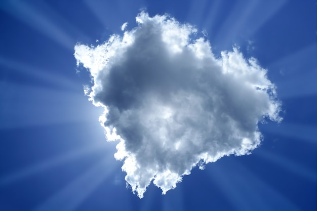 Feixe sol nuvem luz de fundo mágica luz azul céu