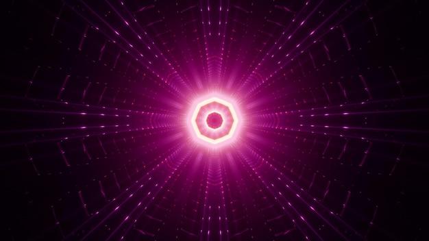 Feixes simétricos em rosa brilhante circundando o ornamento em forma de octógono