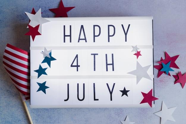 Feliz 4 de julho assinar com estrelas