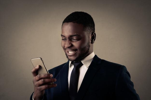Feliz, afro, homem negócios