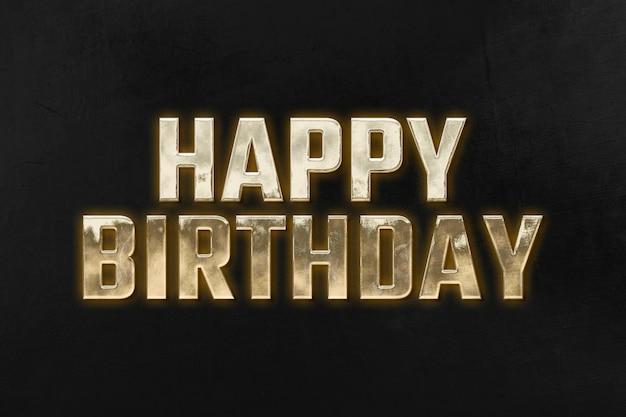Feliz aniversário 3d tipografia dourada em fundo preto