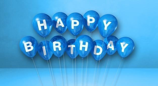 Feliz aniversário, balões de ar em uma cena de superfície azul