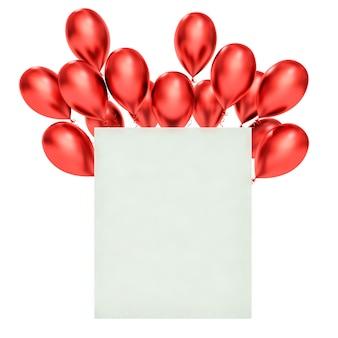 Feliz aniversário cartão com balões vermelhos 3d