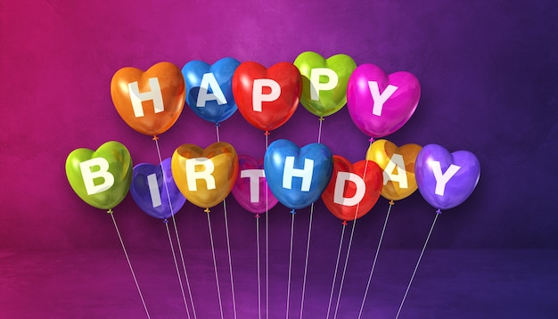 Feliz aniversário colorido com balões de ar em forma de coração em uma cena de superfície roxa