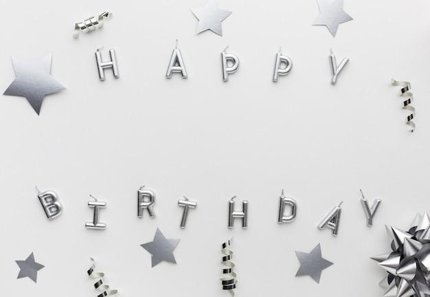 Feliz aniversário vista superior