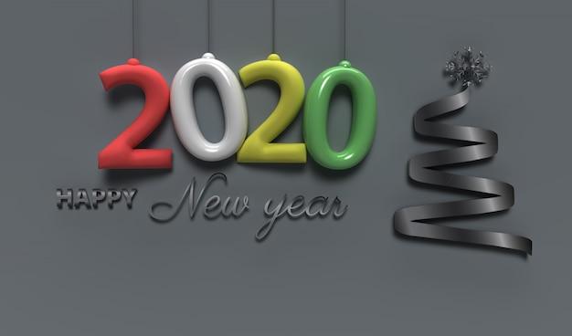 Feliz ano novo 2020, cartão com decoração do feriado