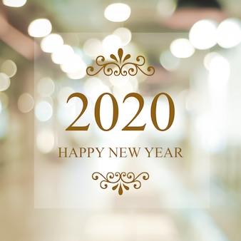 Feliz ano novo 2020 em borrão luzes abstratas