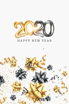 Feliz ano novo 2020 em um fundo branco. design em ouro preto.