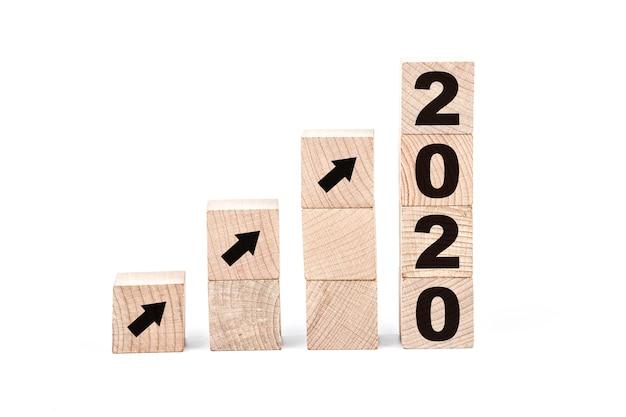 Feliz ano novo 2020, número em blocos de madeira
