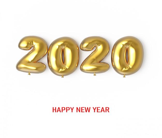 Feliz ano novo 2020 números de balão dourado