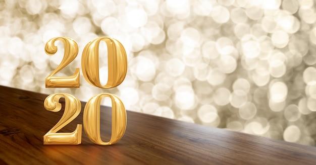 Feliz ano novo 2020 ouro brilhante na mesa de madeira de ângulo com bokeh espumante ouro