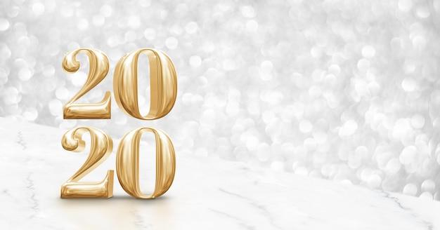 Feliz ano novo 2020 ouro na mesa de mármore branco de ângulo com bokeh prata cintilante