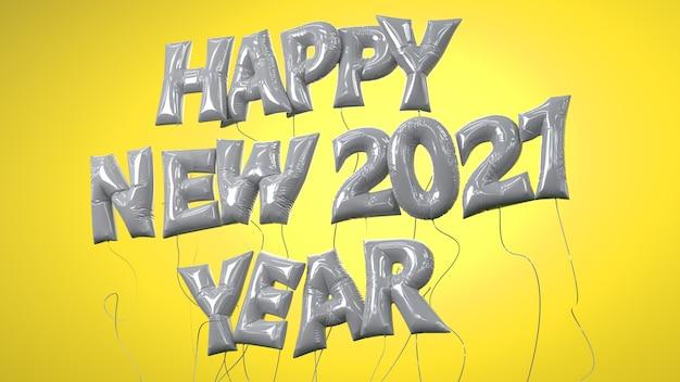 Feliz ano novo 2021 letras de balão de hélio camada transparente Foto Premium