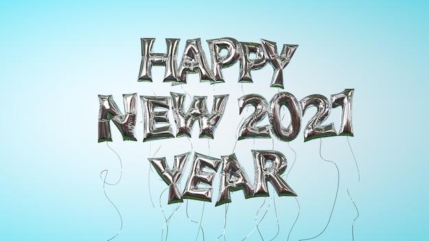 Feliz ano novo 2021 letras de balão de hélio camada transparente