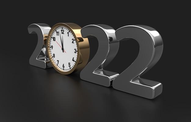 Feliz ano novo 2022 conceito com relógio, isolado no fundo preto. renderização 3d
