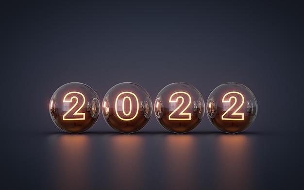 Feliz ano novo 2022 efeito de luz de néon papel de parede renderização em 3d