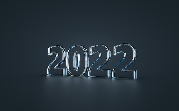 Feliz ano novo 2022 efeito de vidro fundo de luxo renderização em 3d